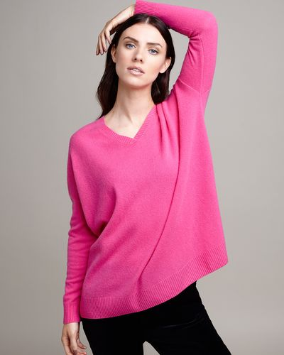 Paul Costelloe Living Studio Pink Cashmere V-Neck Jumper thumbnail