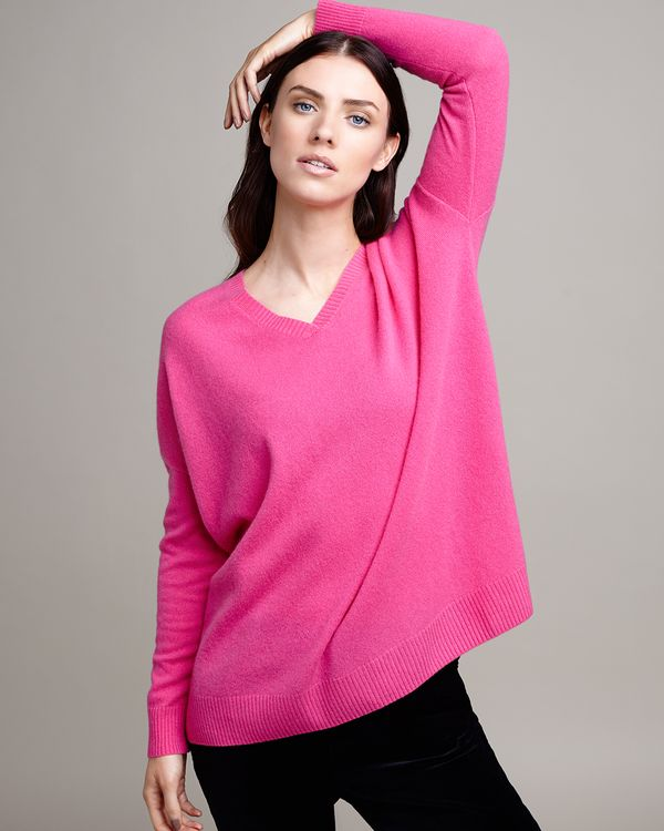 Paul Costelloe Living Studio Pink Cashmere V-Neck Jumper