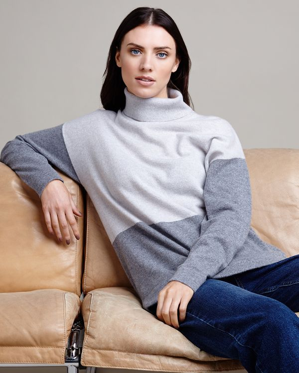 Paul Costelloe Living Studio Colour Block Long Sleeve Cashmere Polo Neck Jumper
