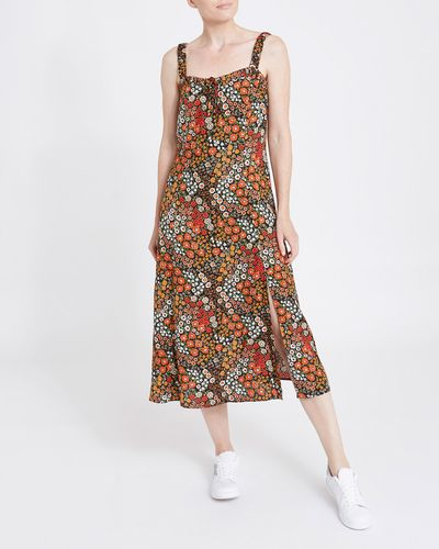 Print Strappy Midi Dress