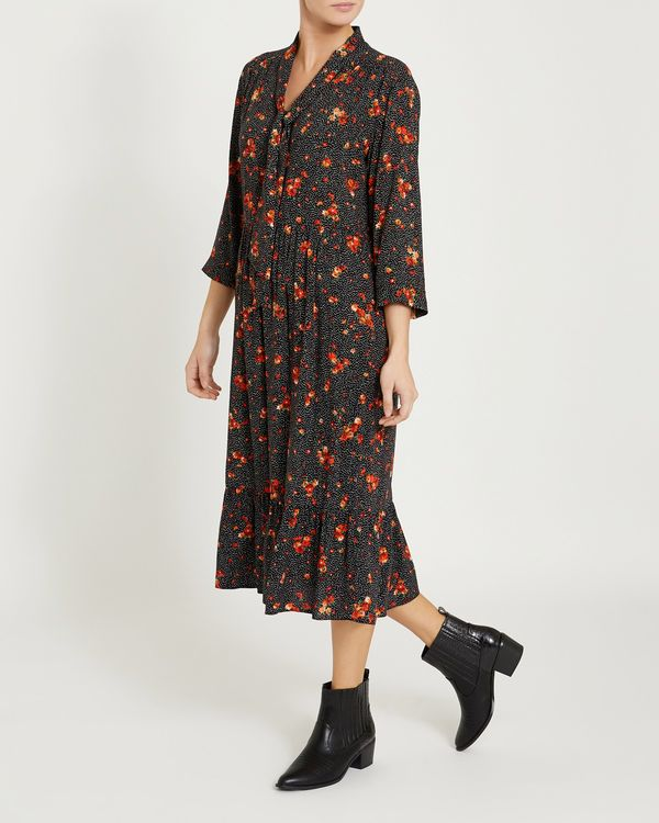 Tie Neck Floral Print Midi Dress