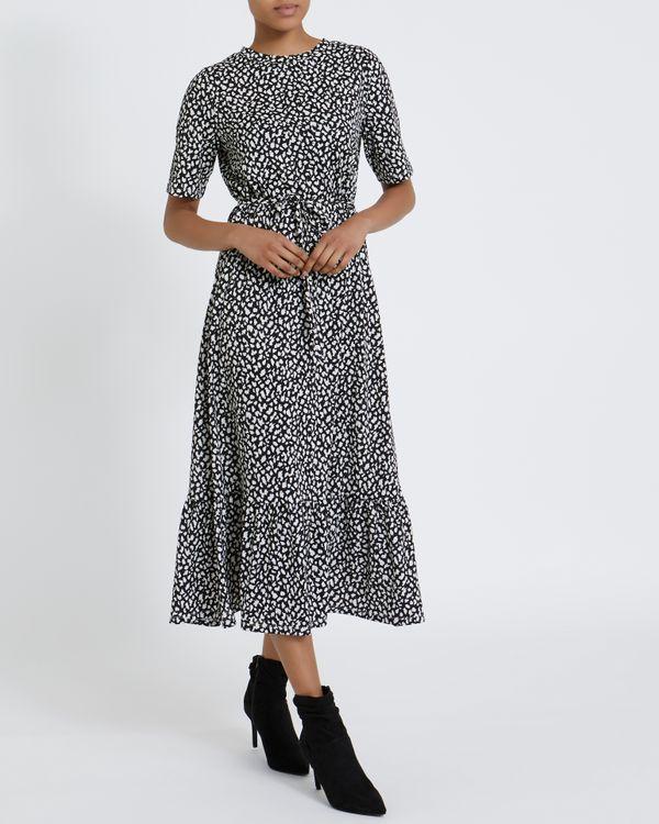 Printed Short Sleeve Midi Dress