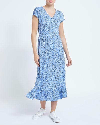 Printed Short Sleeve Midi Dress thumbnail
