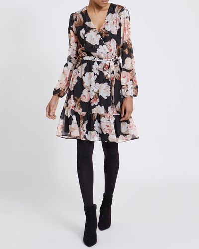 Chiffon Ruffle Print Mini Dress