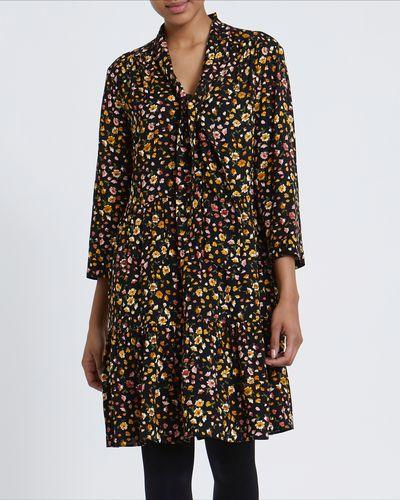 Printed Tie Neck Mini Dress