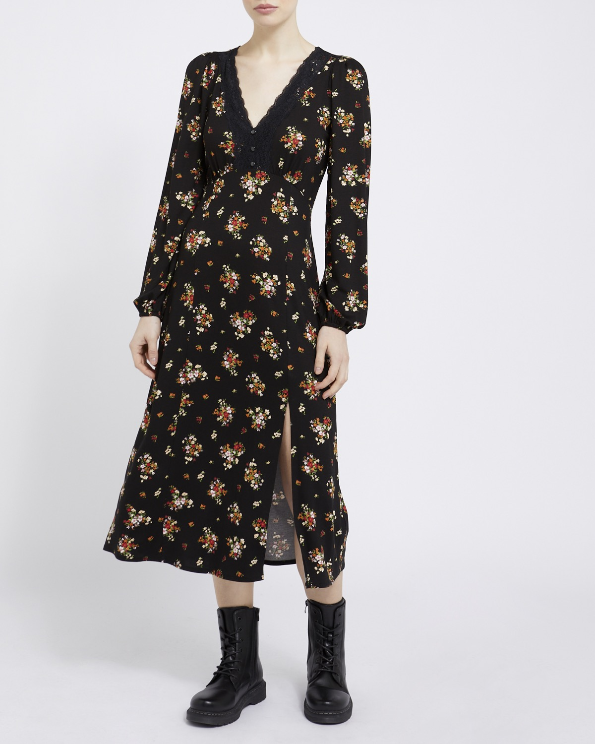 Dunnes Stores | Print V Lace Jersey Dress