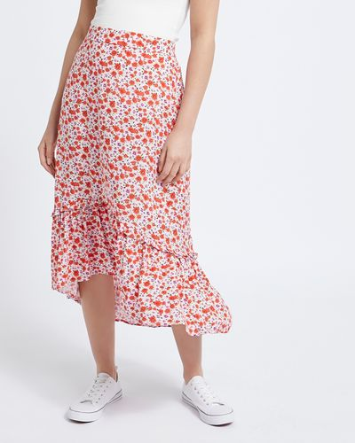 Ruffle Hem Printed Midi Skirt