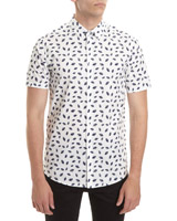 white Slim Fit Short Sleeve Printed Stretch Shirt