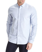 blue Sim Fit Long Sleeve Oxford Solid