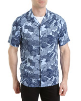 navy Slim Fit Wood Block Print Resort Shirt