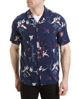 black Slim Fit Floral Print Resort Shirt