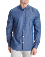blue Slim Fit Long Sleeve Fashion Shirt