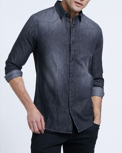 Slim Fit Long-Sleeved Denim Shirt