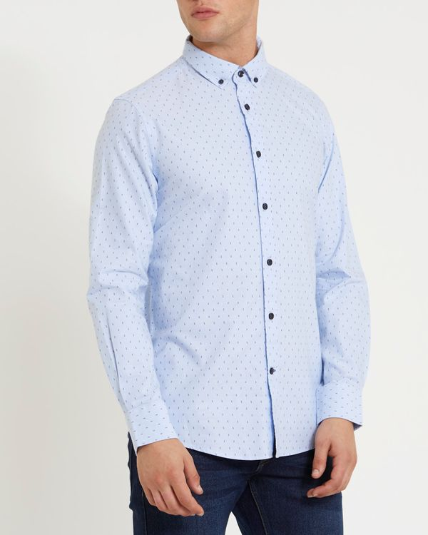 Slim Fit Long-Sleeved Oxford Printed Shirt