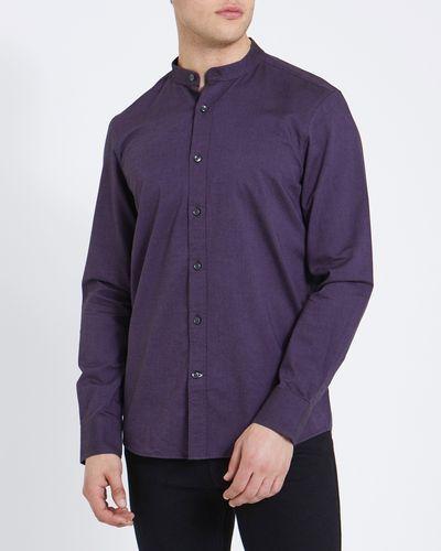 Slim Fit Oxford Solid Granddad Collar Shirt