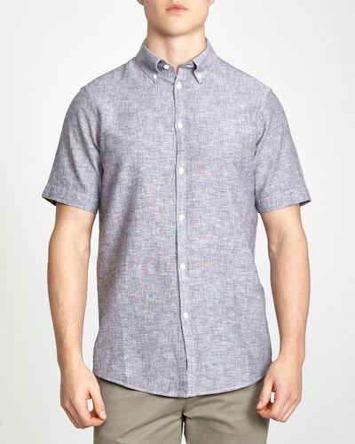 Slim Fit Short-Sleeved Linen Blend Solid Shirt