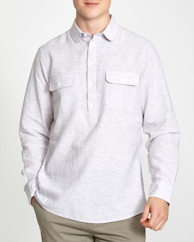 Slim Fit Long-Sleeved Kaftan Linen Blend Shirt