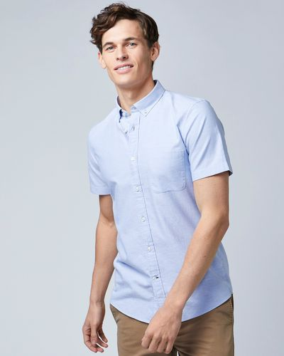 Slim Fit Short-Sleeved Oxford Solid Shirt