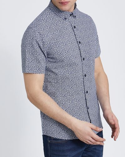 Slim-Fit Short-Sleeved Oxford Printed Shirt