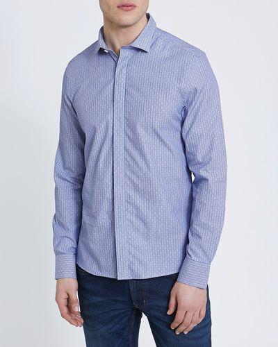 Long-Sleeved Slim Fit Jacquard Shirt