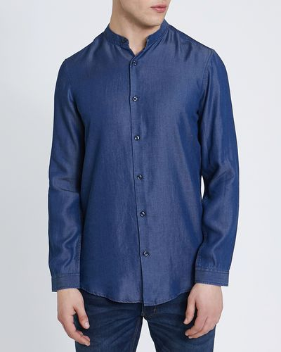 Long-Sleeved Slim Fit Tencel Denim Shirt