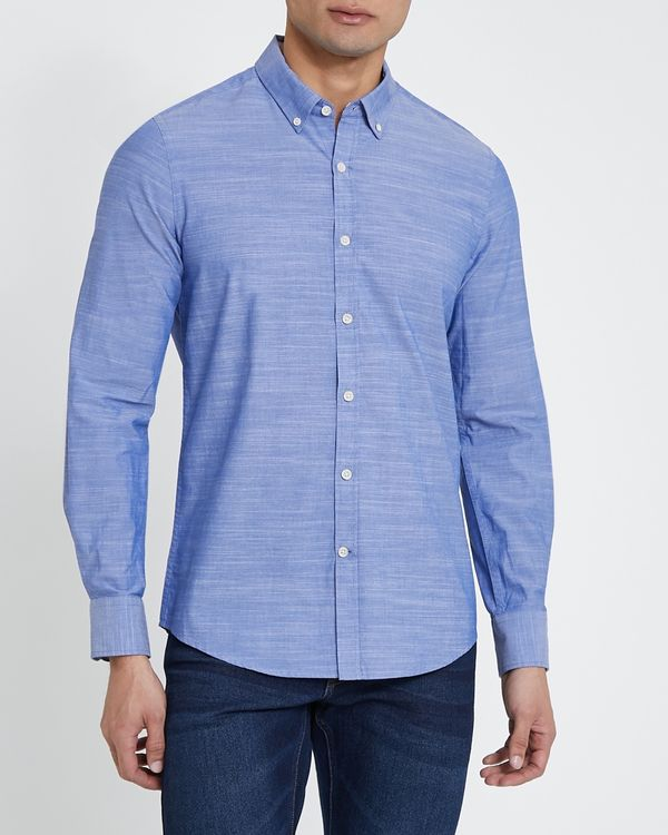 Long-Sleeved Slim Fit Cotton Slub Shirt