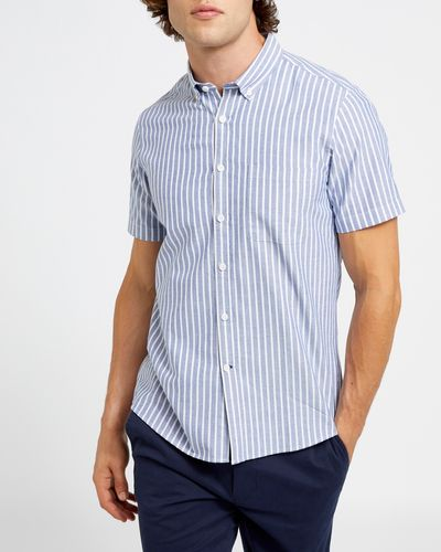Slim Fit Short-Sleeved Oxford Stripe Shirt