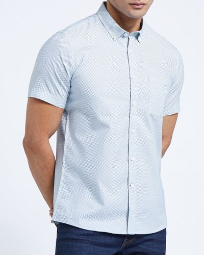 Slim Fit Short-Sleeved Oxford Print Shirt