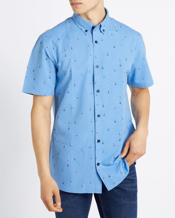 Regular Fit Short-Sleeved Oxford Geo Shirt