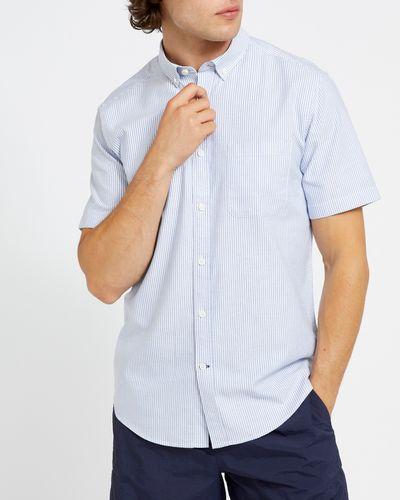 Regular Fit Short-Sleeved Oxford Stripe Shirt