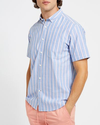 Regular Fit Short-Sleeved Oxford Stripe Shirt