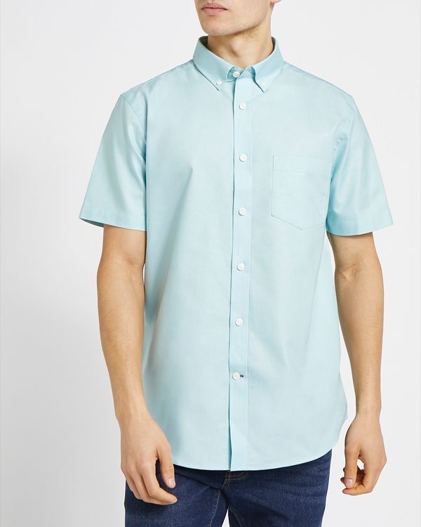 Regular Fit Short-Sleeved Oxford Solid Shirt