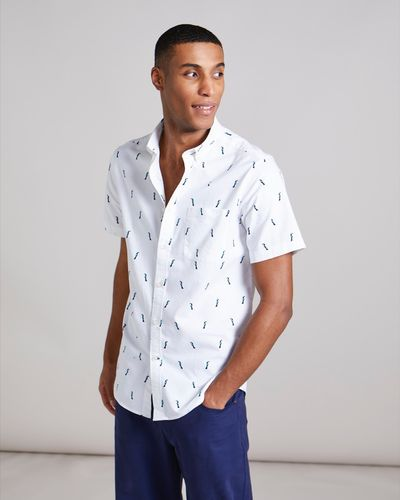 Regular Fit Short-Sleeved Oxford Print Shirt