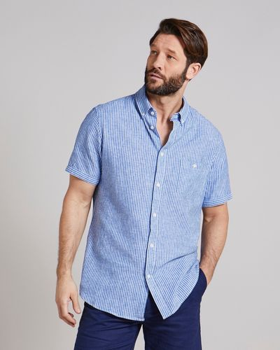 Regular Fit Short-Sleeved Linen Blend Stripe Shirt