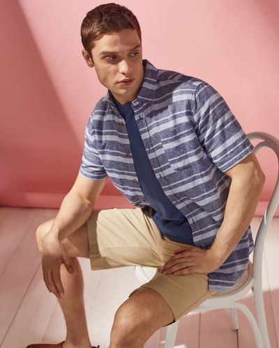 Regular Fit Linen Blend Short-Sleeved Shirt
