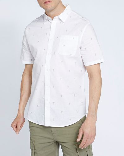 Regular Fit Linen Blend Print Short-Sleeved Shirt