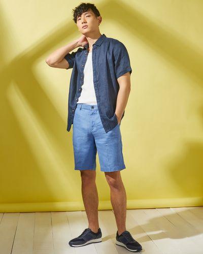 Regular Fit 100% Linen Solid Short-Sleeved Shirt