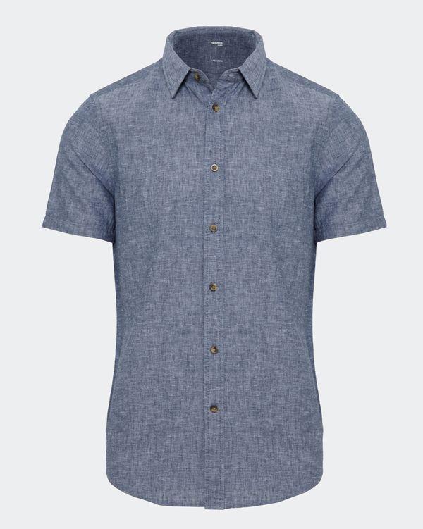 Slim Fit Linen Blend Solid Shirt