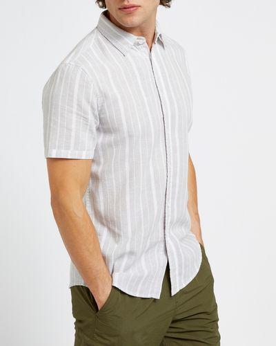 Slim Fit Linen Blend Stripe Short-Sleeved Shirt thumbnail