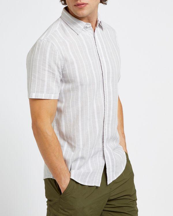 Slim Fit Linen Blend Stripe Short-Sleeved Shirt