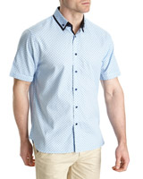 blue Fashion Collar Shirt