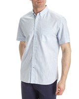 blue-stripe Regular Fit Short-Sleeved Striped Oxford Shirt