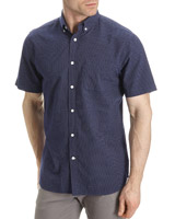 navy Regualr Fit Short-Sleeved Oxford Shirt