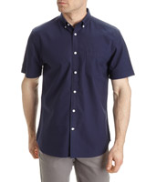 navy Regular Fit Short-Sleeved Solid Oxford Shirt