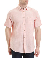coral Regular Fit Linen Blend Solid Short Sleeve Shirt