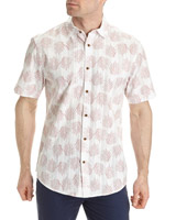 red Regular Fit Dobby Print Shirt