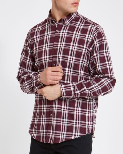 Regular Fit Long-Sleeved Lightweight Flannel Shirt