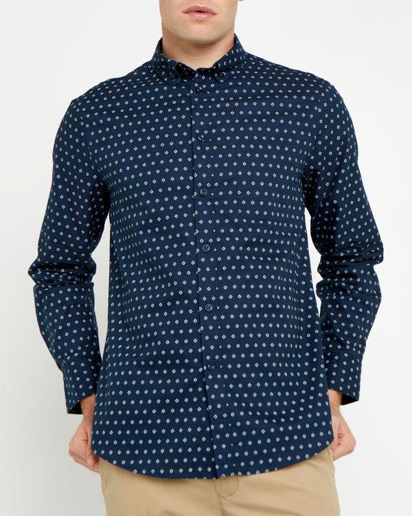 Regular Fit Long Sleeve Oxford Print Shirt
