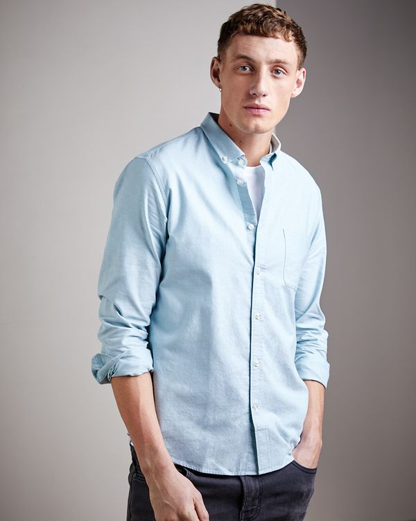 Regular Fit Long-Sleeved Oxford Solid Shirt