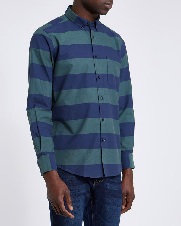 Regular Fit Long-Sleeved Oxford Stripe with Comfort Flex